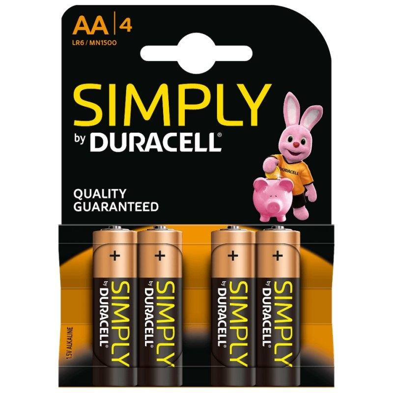 Duracell Simply Pila Alcalina AA LR6 Blister*4