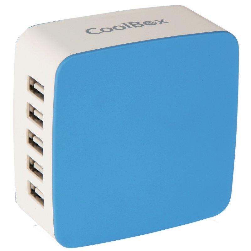 Coolbox CARGADOR USB PARED  RT-5 7.8A BLANCO-AZUL