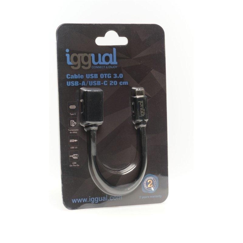 iggual Cable USB OTG 3.0 USB-A/USB-C 20 cm negro