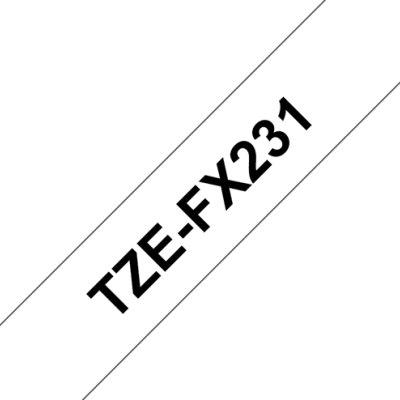 Brother Cinta Tzefx231 Flexible Blanco/Negro 12mm
