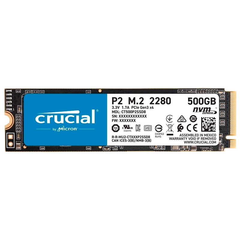 Crucial CT500P2SSD8 P2 SSD 500GB M.2  NVMe PCIe