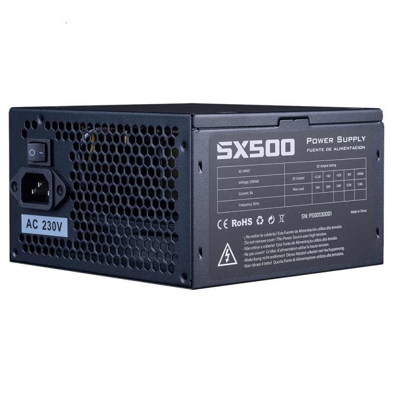 Hiditec Fuente Al.SX 500W 60 Black 120mm fan